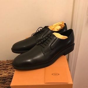 NEW TOD'S Derby Fondo Gomma Leather Dress Shoes